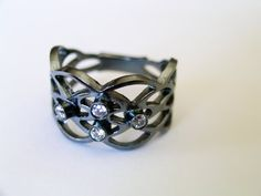 Oxidized Ring with Stone Silver Ring Handmade by pinarilker, $53.00