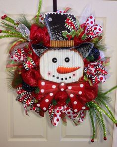 Snowman Mesh Christmas Wreath on Etsy, $125.00