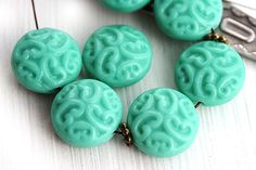 Turquoise ornament beads, Czech glass, Coin beads, turquoise green beads, carved rounds - 14mm - 6Pc - 1084 by MayaHoney on Etsy