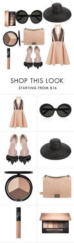 """""""Nude and Black Number"""" by styledbytjohnson ❤ liked on Polyvore featuring Miss Selfridge, Linda Farrow, Eric Javits, Iman, Chanel and NARS Cosmetics"""
