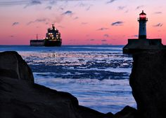 Duluth MN - I love walking along the boardwalk, seeing the ships, the lighthouse, antique shops, coffee shop, and putting my feet in the cold water on a hot day.
