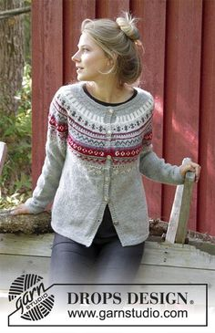 Knitted children's sweater in DROPS Karisma. The piece is worked top down with round yoke and Nordic pattern on yoke. Knitted head band in DROPS Karisma. The piece is worked with Nordic pattern. Fair Isle Knitting Patterns, Sweater Knitting Patterns, Cardigan Pattern, Jacket Pattern, Free Knitting, Baby Cardigan, Crochet Patterns, Drops Design, Punto Fair Isle