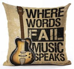 Where Words Fail Music Speaks  Pillow Cover by UniikStuff on Etsy