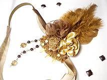 Vintage romantic feather diy headband hair piece on Sashe, romantická ručne robená vintage retro čelenka na Sashe - Čelenky - Tee with Honey for Gatsby.. čelenka - 5939207_