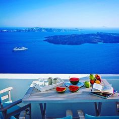 Hello from Villa Gaia - Your home away from home! Villa Gaia is situated in the hart of Imerovigli overlooking the volcano and offering phenomenal views of the Aegean and the most beautiful sunsets in Santorini. Book with us! www.bookingsantorini.com  #santorinihotel #santorinihotels #santorinivillas #santorini #greece #greekislands #cycladicislands #Aegean #volcanoview #volcano #visitgreece #greek #breakfast  #lunch #blue #travel #travelling #traveller #travegram #travelgreece #nature…