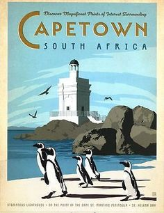 Cape Town South Africa Tourism Poster by VintagePosterShopUK