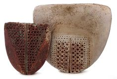 Two Alan Wallwork vases of axe head shape with dotted bodies, (2) the tallest vase measures 21cm