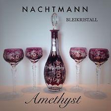 NACHTMANN Traube Cut To Clear Lead Crystal DECANTER & 4 GOBLETS Amethyst Purple