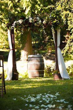 Wine ceremony set up on an oak barrel
