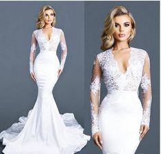 White Lace Mermaid Wedding Dresses With Long Sleeves Deep V Neck Bridal Gowns Sweep Train Satin Appliques Trumpet Wedding Dress from DreamyBridal Satin Mermaid Wedding Dress, Sexy Wedding Dresses, Wedding Dress Sleeves, Elegant Wedding Dress, Perfect Wedding Dress, Bridal Dresses, Prom Dresses, Evening Dresses, Lace Wedding