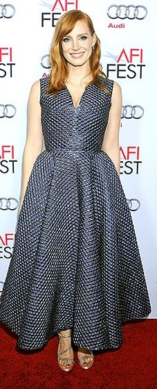 Jessica Chastain was gorgeous in a 1950s-style navy blue Roksanda dress with a fit-and-flare shape.
