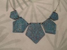 Winter Magic, Blue Necklace, Clay Jewelry, Blue And Silver, Curly, Handmade, Flower, Hand Made, Flowers