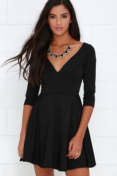 Clued In Black Skater Dress at Lulus.com!