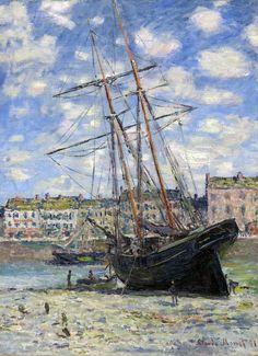 Claude Monet / Boat Lying at Low Tide. Dimensions: w60 x h82 cm