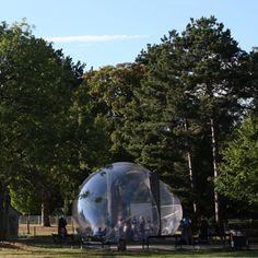 An inflatable pavilion that looks like a soap bubble, by Plastique Fantastique