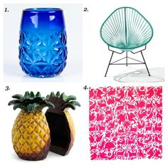 How to bring a little bit of Mexico into your home.  1. T2, Tulum iced blue tea glass, $16.01 (also available in green, red and amber). Buy. 2. Acapulco Chair, turquoise on black frame, $495 (also available in 20 other colour variations). Buy.