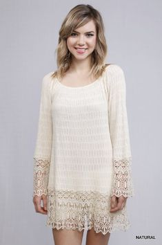 Women's Bell Sleeve Lace Trim Tunic Now in Stock (Women's Boutique Tops & Sweaters). **Please note, this is tunic length not a dress. This item is a final sale. Ryu Clothing, Boutique Clothing, Boutique Tops, Bell Sleeve Dress, Bell Sleeves, Cute Wedding Guest Dresses, Mommy And Me Outfits, Ladies Boutique, Long Sweaters