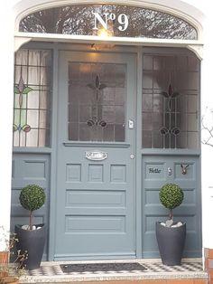 Front door painted in F&B De Nimes Farrow And Ball Front Door Colours, Front Door Paint Colors, Painted Front Doors, Front Door Design, Front Door Porch, House Front Door, House Doors, Farrow Ball, 1930s House Exterior
