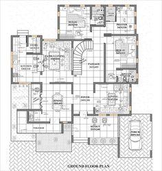 Bungalow Floor Plans, Modern Floor Plans, Home Design Floor Plans, Bungalow House Design, Contemporary House Plans, Small House Design, House Floor Plans, Square House Plans, Free House Plans