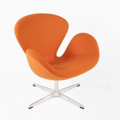Mid Century Swan Chair Replica by Arne Jacobsen Light Orange, France and Son, http://www.franceandson.com/the-swan-chair-light-orange.html