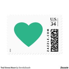 Teal Green Heart Stamp  Available in three rates and three sizes! Also available in many colors! Thanks for looking!  @zazzle #stamp #postage #heart #valentines #day #holiday #send #letter #invitation #love #feeling #emotion #fun #sweet #nice #joy #peace #happy #shape #design #orange #blue #green #yellow #purple #buy #shop #sale #mail #mailing #friend #family #greeting