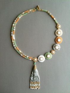 Pastel Asymmetrical Circle & Rope Necklace with Tassel by Jeka Lambert.  Bead woven, bead embroidery.  Vintage & new seed beads, 1920s nailhead beads, 24K gold plated beads.