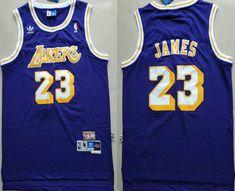 b5adcc1e869 Men's Los Angeles Lakers #23 LeBron James Purple Swingman Stitched NBA  Throwback Jersey