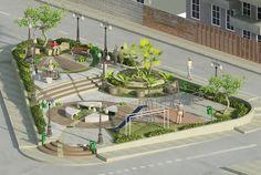 Diseño paisajístico. Soluciona la necesidad de habitar. Landscape Architecture Model, Landscape Design Plans, Landscape Concept, Green Architecture, Concept Architecture, Urban Landscape, Poket Park, Plaza Design, Urban Design Plan