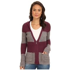 You're along for a smooth ride in this Roxy Rocky Stone Cardigan! ; Bold stripes add a stylish flair to this heavy knit sweater. Attached hood. Long-sleeve con…