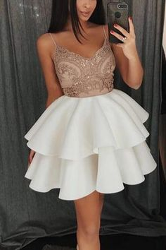 Outlet Colorful Appliques Homecoming Dress, Party Dress A-Line, Party Dress White Homecoming Dress A-Line, White Party Dress, Homecoming Dress With Appliques Homecoming Dresses 2018 White Homecoming Dresses, Hoco Dresses, Sexy Dresses, Cute Dresses, Evening Dresses, Fashion Dresses, Formal Dresses, Party Dresses, Dress Party