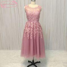 Pink Prom Dresses, Cheap Prom Dresses, Formal Dresses, Tea Length, Lace Applique, Gowns, Elegant, Style, Fashion