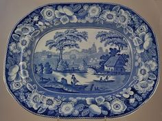 "Large 18"" Blue Staffordshire Wild Rose Platter"