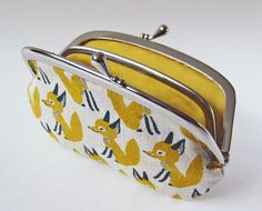 Coin purse / wallet - mustard foxes by oktak on Etsy