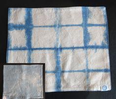 Aizome Indigo Shibori Placemat a four piece set by ASAGIbyaina