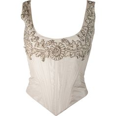 Preowned Eavis & Brown London Beaded Cream Silk Corset Bustier Size M (€415) ❤ liked on Polyvore featuring tops, corset, shirts, dolls, white, white lace up top, bustier corset tops, lace up shirt, babydoll tops and white silk top