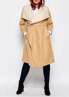Chic Turn-Down Neck Long Sleeve Plus Size Pokcet Design Women's Coat #plussize #fashion