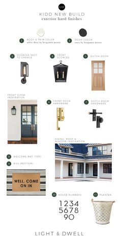 Kidd New Build / Exterior Hard Finishes — Light & Dwell Exterior Siding, Exterior Homes, Front Door Hardware, Roof Window, Mountain Designs, Dutch Door, Exterior Paint Colors, White Doves, New Living Room