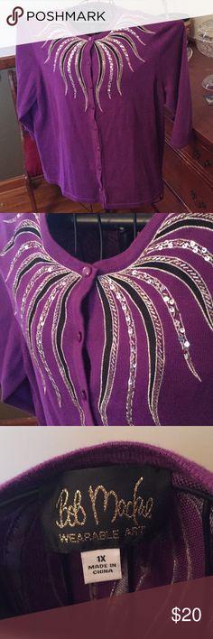 Bob Mackie Wearable Art Purple Sweater 1X Bob Mackie Wearable Art purple embellished cardigan sweater size 1X.  In good used condition. Has 3/4 length sleeves. Bob Mackie Sweaters Cardigans