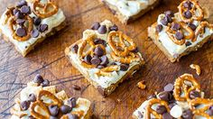 Pretzel S'mores Chocolate Chip Cookie Bars  ~  A chocolate chip cookie base is topped with marshmallows, pretzels and even more chocolate chips.  ~    Prep time: 5 min. | Total time: 60 min. | Ingredients: 4 | Serves: 9