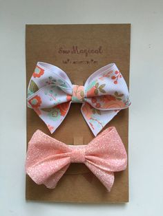 $4.75 Set of 2 Bows  White Floral & Pink Glitter by SewMagicalByAndrea