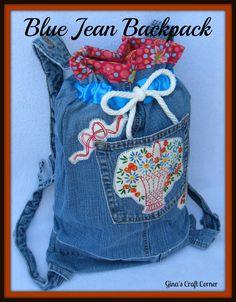 Blue Jean Backpack