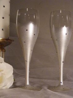 READY TO SHIP painted champagne flutes with Swarovski crystals
