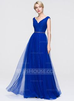 [US$ 146.99] A-Line/Princess V-neck Floor-Length Tulle Prom Dress With Beading Sequins