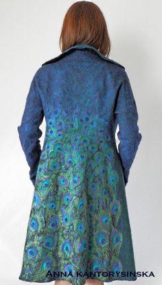photo 4 of 4 nuno felted coat PEACOCK COAT handmade felted by kantorysinska