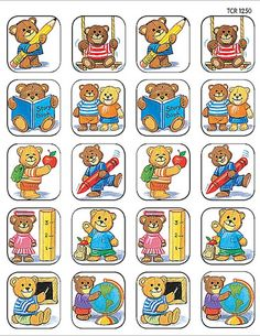 Teacher Created Resources School Bears Stickers, Multi Color 120 Self-Adhesive stickers per pack. Great for incentives and decorations. Kindergarten Crafts, Kindergarten Classroom, School Classroom, Bon Point, Teacher Created Resources, Sixth Grade, Album, Kids Cards, Clipart