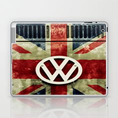 VW Retro Union Jack Laptop & iPad Skin by Alice Gosling - $25.00  Skins for iPhones and iPods.  #skins #iPhone #iPod #VW #Volkswagen #camper #bus #vintage #rust #UnionJack #British #flag