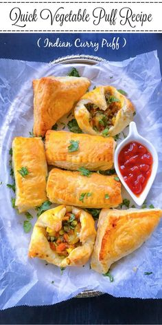 Quick Vegetable Puff Recipe (Indian Curry Puff) : crispy, buttery and flakey in every bite, these vegetable puffs have a delicious vegetable curry filling.