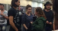 Meeting fans; Luca, Maimie & Tom 'Link to a small but sweet interview with Maimie and Tom. http://moviezmagazine.com/2015/07/lfcc-one-for-all-and-all-for-one-few-words-with-the-musketeers/ Love how Tom refers to himself as nostalgic and introspective as opposed to his schoolteacher calling him melancholic.'