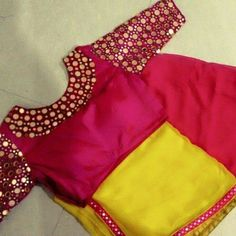 Top Beautiful Mirror work Blouse Designs Latest designs :- Mirror work blouse designs have become fashion now. When a mirror work blouse is combined with a plain saree it will give stunning a… Wedding Saree Blouse Designs, Pattu Saree Blouse Designs, Blouse Designs Silk, Lehenga Blouse, Blouse Patterns, Simple Blouse Designs, Blouse Back Neck Designs, Mirror Work Blouse Design, Mirror Work Saree