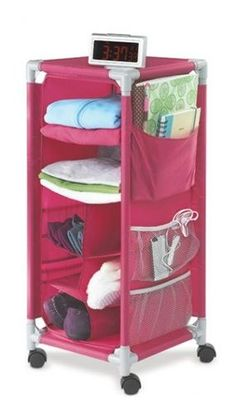 Dorm organizer with wheels- of course in pink! This would be really nice next to my bed!